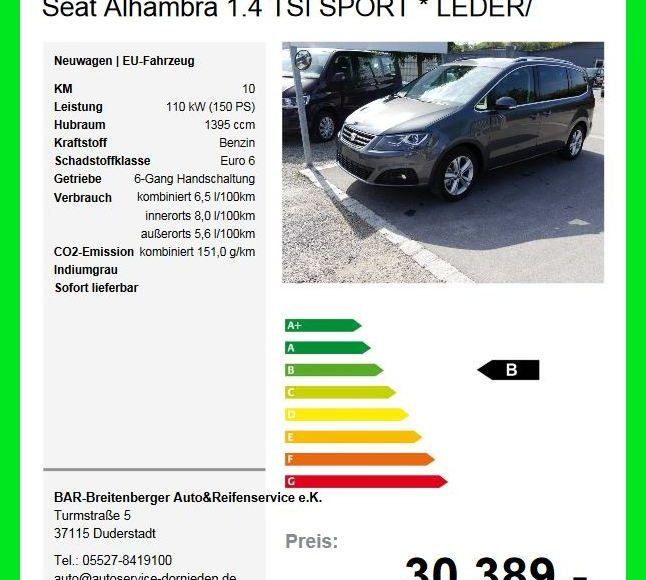 seat alhambra eu neuwagen reifen autoservice. Black Bedroom Furniture Sets. Home Design Ideas